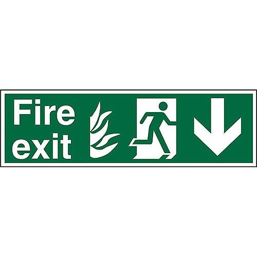 NHS Sign 600x200 1mm Fire Exit  Man Running Right &Arrow Pointing Down
