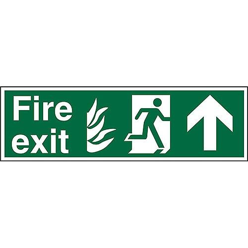 NHS Sign 600x200 1mm Fire Exit - Man Running Right &Arrow Pointing Up