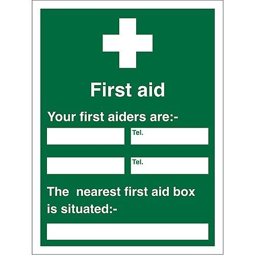 First Aid Sign 450x600 1mm First Aiders (Name &Location)