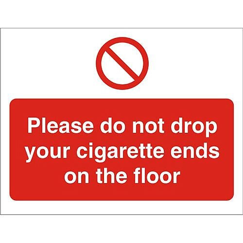Prohibition Signs 300x400 Do Not Drop Cigarette Ends On
