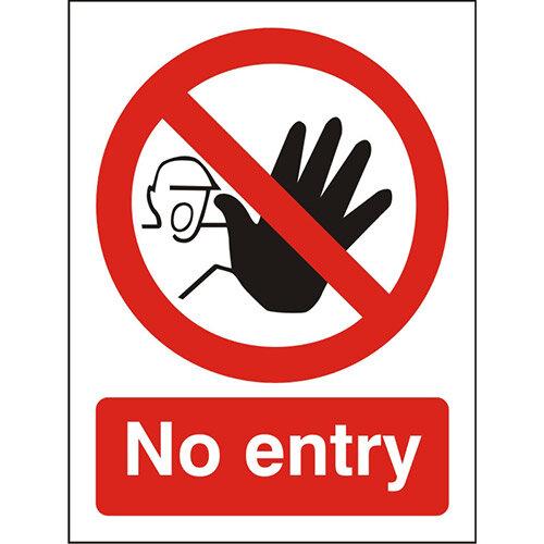 Prohibition Sign 300x400 1mm Semi Rigid Plastic No Entry