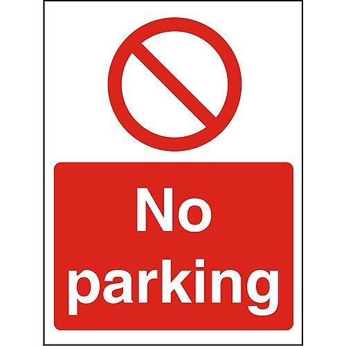 Prohibition Sign 300x400 1mm Semi Rigid Plastic No Parking