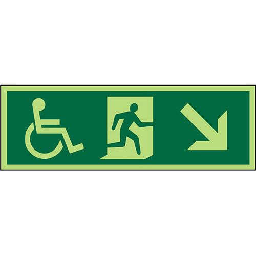 Photol Exit Sign 2mm 450x150 Wheelchair Picto/Man Run Down Right Arrow