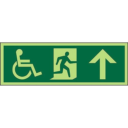 Photol Exit Sign 2mm Wheelchair Picto/Man Run Right Arrow Up