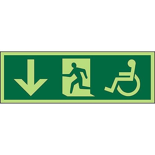 Photol Exit Sign 2mm Wheelchair Pictogram/Man Run Right &Arrow Pointing Down