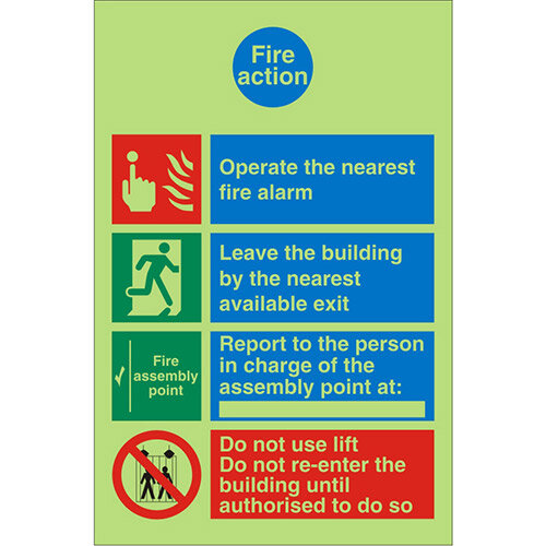 Photoluminescent Safe Sign 200x300 Fire Action Self Adhesive Vinyl
