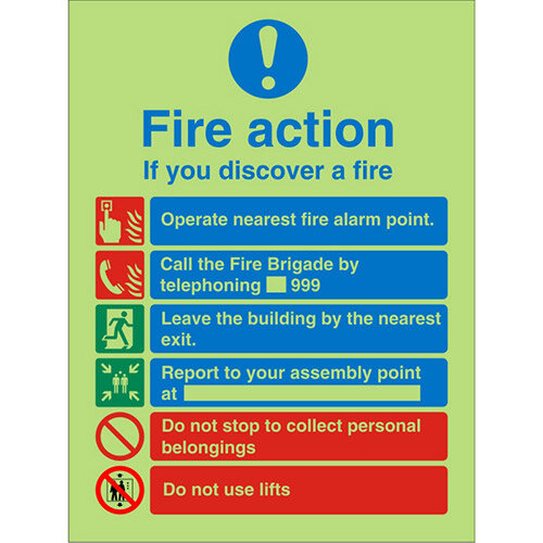 Photolum Sign 200x300  FireAction If You Discover A Fire