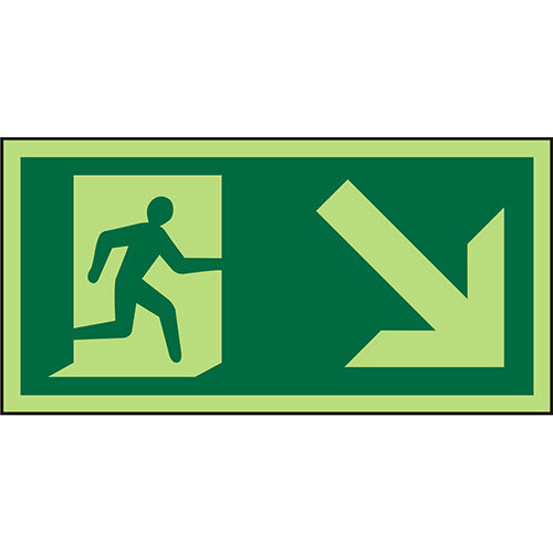Photolum Sign 300x150 1mm Man Running Right &Arrow Down Right