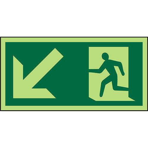 Photolum Sign 300x150 1mm Plastic Man Running &Arrow Down Left