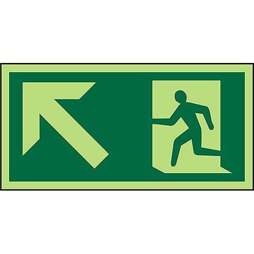 Photoluminescent Exit Sign 2mm Wheelchair Pictogram /Man Run & Up Left Arrow PVC