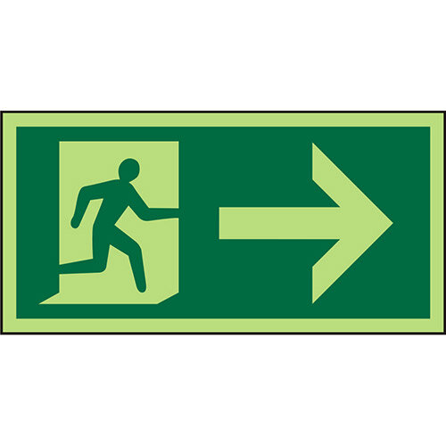 Photolum Sign 300x150  Man Running &Arrow Right 1mm Plastic