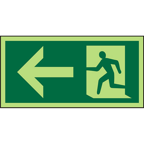 Photolum Sign 300x150 1mm Plastic Man Running &Arrow Left