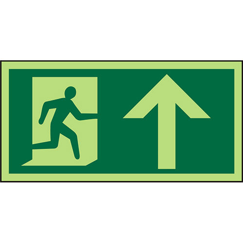 Photolum Sign 300x150 1mm Plastic Man Running Right &Arrow Up