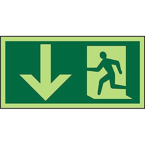 Photoluminescent Sign 300x150 Man Running Left &Arrow Down PVC