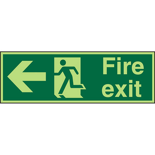 Photolum Sign 600x200 Fire Exit  Man Running &Arrow Pointing Left Self Adhesive Vinyl
