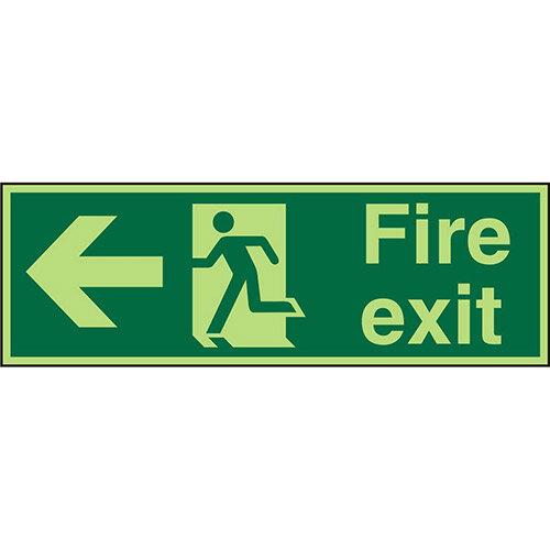 Photolum Sign 450x150 1mm Fire Exit Man Running &Arrow Pointing Left