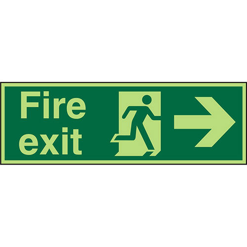 Photolum Sign 600x200 Fire Exit Man Running &Arrow Pointing Right Self Adhesive Vinyl