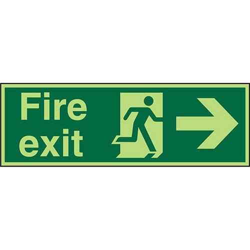 Photolum Sign 600x200 1mm Fire Exit Man Running &Arrow Pointing Right