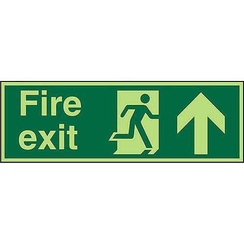 Photolum Sign 600x200 Fire Exit Man Running Right &Arrow Pointing Up Self Adhesive Vinyl