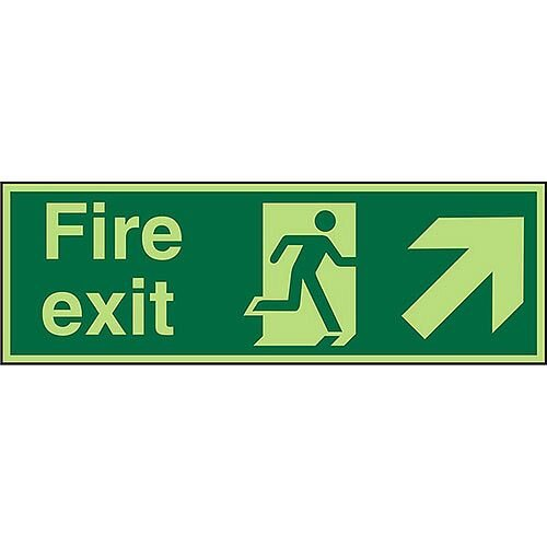 Photolum Sign 450x150 Fire Exit Man Running Arrow Pointing Up Right Self Adhesive Vinyl