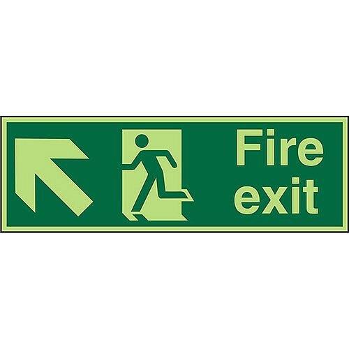 Photolum Signs 450x150 1mm Fire Exit Man Running Arrow Pointing Up Left