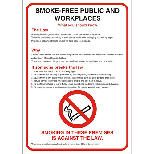 No Smoking Safety Sign A2 S/A Vinyl Smoke-Free Public &Work Places