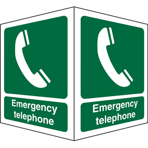 Protruding FirstAid Sign 2 Faces Each Emergency Telephone