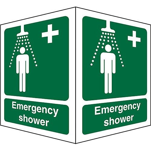 Protruding Sign 2 Faces 150x200 each 1mm Emergency Shower