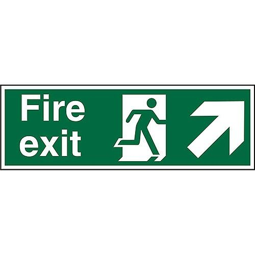 Safe Sign 600x200 1mm Fire Exit Man Running Arrow Pointing Up Right