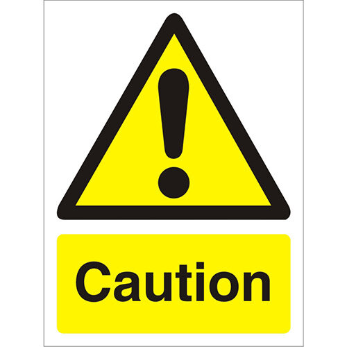 Warning Sign 300x400 1mm Semi Rigid Plastic Caution