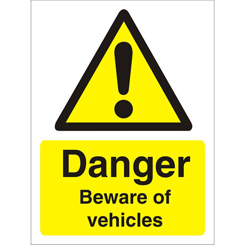 Warning Sign 300x400 1mm Plastic Danger Beware of Vehicles