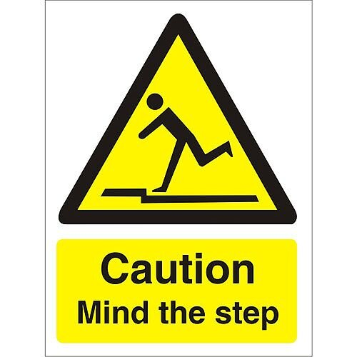 Warning Sign 300x400 1mm Plastic Caution Mind the Step