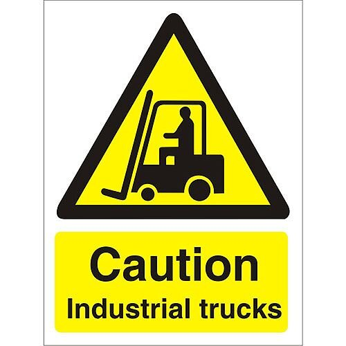 Warning Sign 300x400 1mm Plastic Caution Industrial Trucks