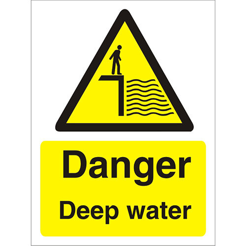 Warning Sign 300x400 1mm Plastic Danger - Deep Water