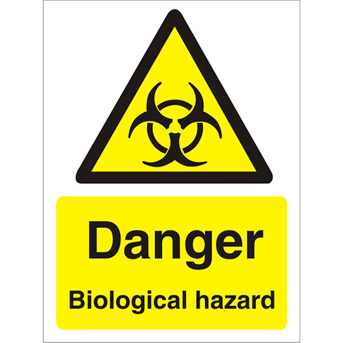 Warning Sign 300x400 1mm Plastic Danger - Biological Hazard