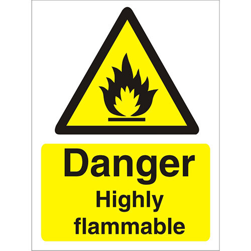 Warning Sign 300x400 1mm Plastic Danger - Highly Flammable