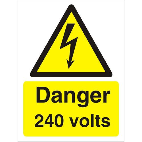 Warning Sign 300x400 1mm Plastic Danger - 240 Volts