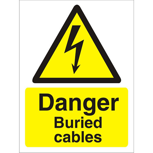 Warning Sign 300x400 1mm Plastic Danger - Buried Cables