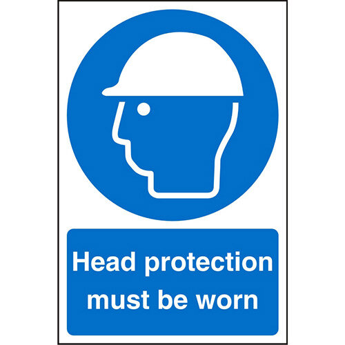 Stewart Superior Warehouse Signs 600x400 1mm Semi Rigid Plastic - Head protection must be worn