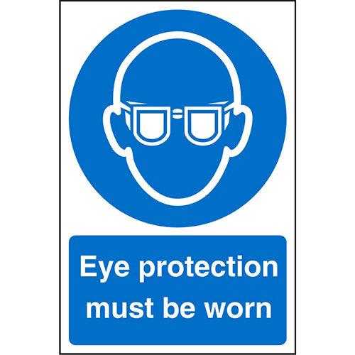 Stewart Superior Warehouse Signs 600x400 1mm Semi Rigid Plastic - Eye protection must be worn