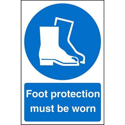 Stewart Superior Warehouse Signs 600x400 1mm Semi Rigid Plastic - Foot protection must be worn