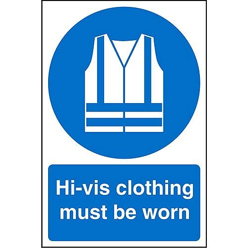 Stewart Superior Warehouse Signs 600x400 1mm Semi Rigid Plastic - Hi-vis clothing must be worn