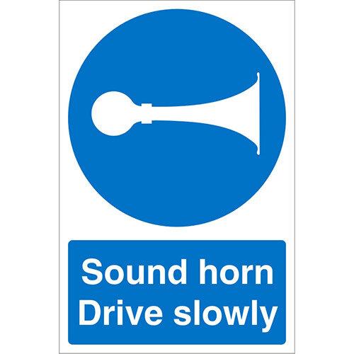 Stewart Superior Warehouse Signs 600x400 1mm Semi Rigid Plastic - Sound horn Drive slowly