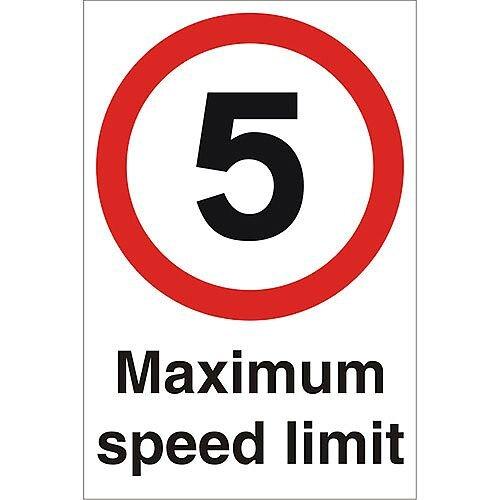 Stewart Superior Warehouse Signs 600x400 1mm Semi Rigid Plastic - 5 Maximum speed limit