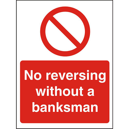 Stewart Superior P127SRP Screw Plastic Sign  400 x 600  - No reversing without a banksman