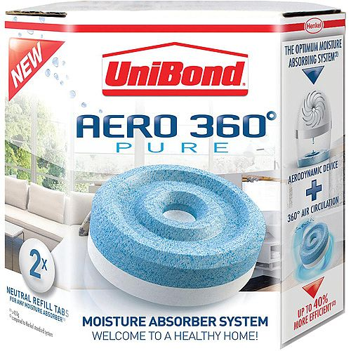 UniBond 450g Refill Tablets Pack of 2 for AERO 360 PURE Moisture Absorber