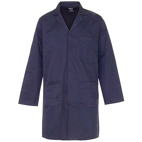 Supertouch Lab Coat Polycotton with 3 Pockets Extra Large Navy Ref 57014
