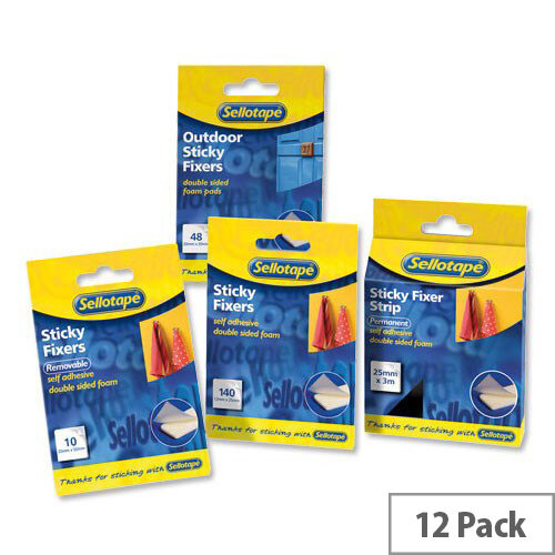 Sellotape Outdoor Sticky Fixers Foam Pads Double Sided Weatherproof 20 x 20mm 48 Pads Pack 12