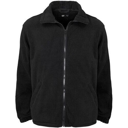 Supertouch Basic Fleece Jacket with Elasticated Cuffs and Full Zip Front Large Black Ref 59073