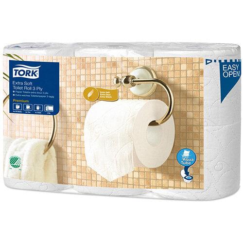 Tork Extra Soft Premium Toilet Tissue Paper Rolls 3-ply White Ref 110318 (Pack 6)